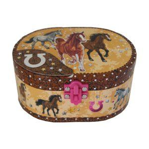 Oval Dashing Horse Jewellery Box