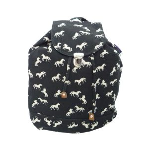 Black Canvas Horse Backpack