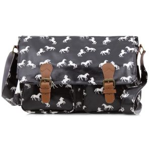 Large Black Horse Satchel