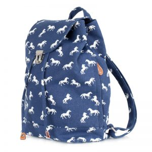 canvas horse backpack navy