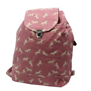 Pink Horse canvas backpack