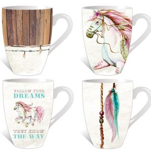 set of 4 pony mugs