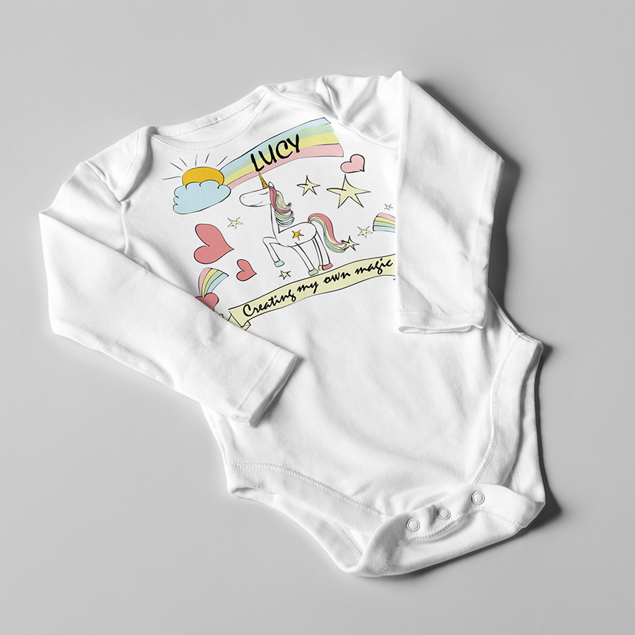 unicorn creating my own magic baby suit