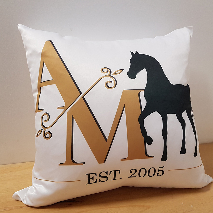 initials horse cushion