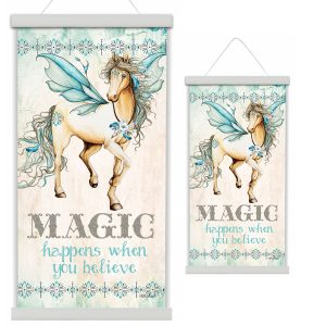 Pegasus Magic Happens When You believe Canvas Scroll,