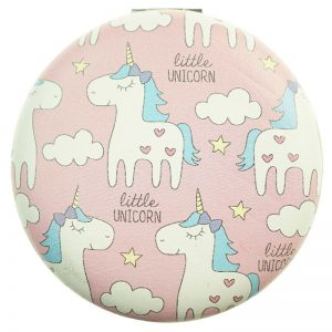 pink unicorn compact mirror