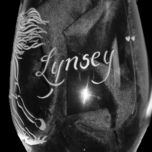 Engraved Horse Wine Glass