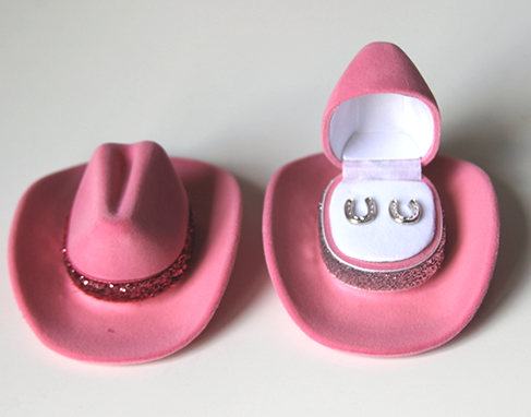 Pink Cowboy Hat with Horseshoe Earrings