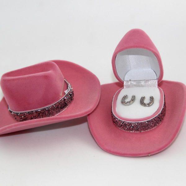 Pink Horseshoe Earrings Cowboy Hat
