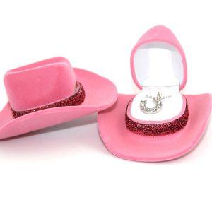 Pink Cowboy Hat Horseshoe Neckace
