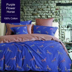 Purple Flower Horse Bed Set 100% cotton