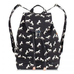 canvas horse backpack black