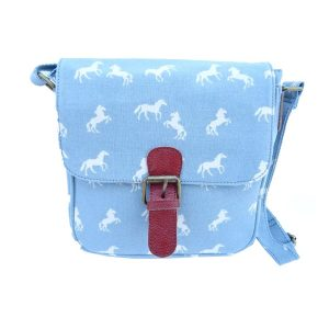 Canvas Horse handbag Light Blue
