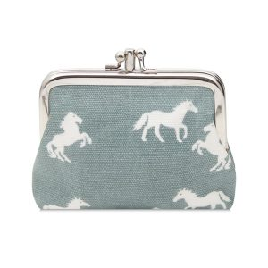 Double Clip Horse Purse Light Blue