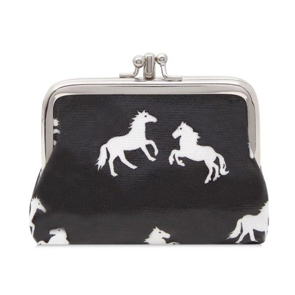 Double Clip Horse Purse Black
