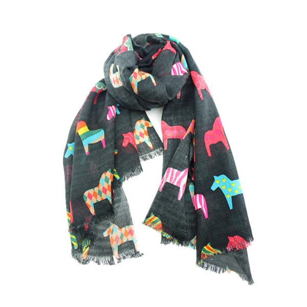 Wool Horse Scarf Black