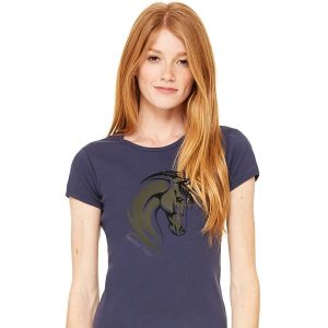two tone horse ladies crew tshirt