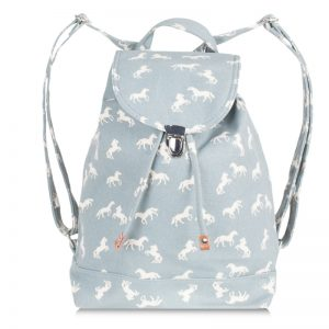 canvas horse backpack blue