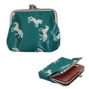 aqua clip top horse purse