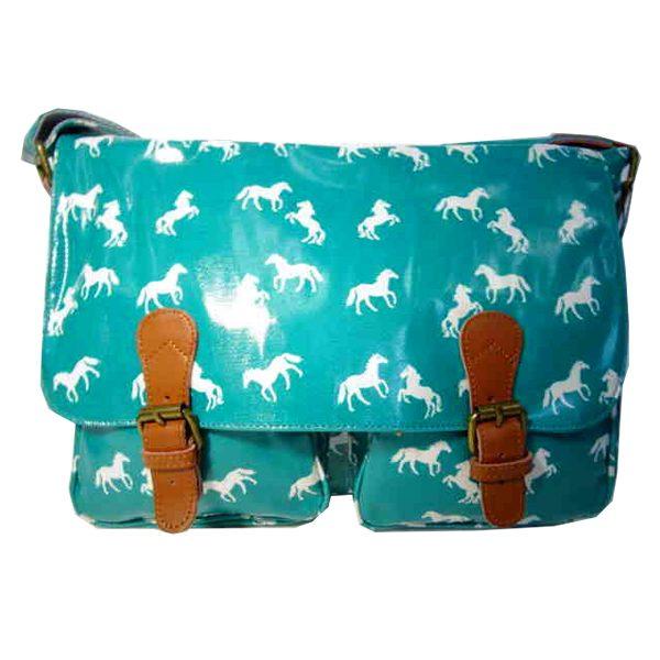 Aqua horse satchel bag