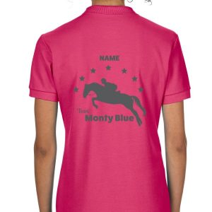 Pink Jumping Horse Personalised Polo