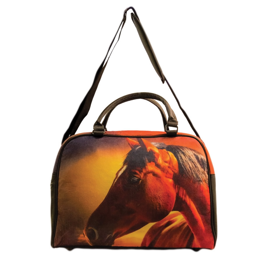 45bb679a42a Sunset Horse Overnight Felt Bag. mare and foal overnight felt bag