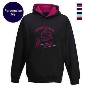 Born to ride personalised horse hoodie
