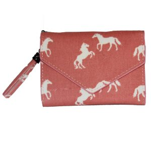 folding horse wallet pink