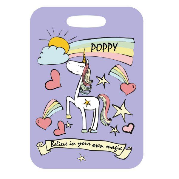 unicorn luggage tag