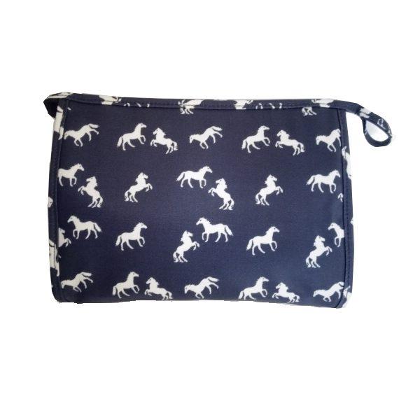 navy horse toiletries bag
