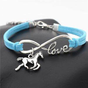 blue leather I love horses bracelet
