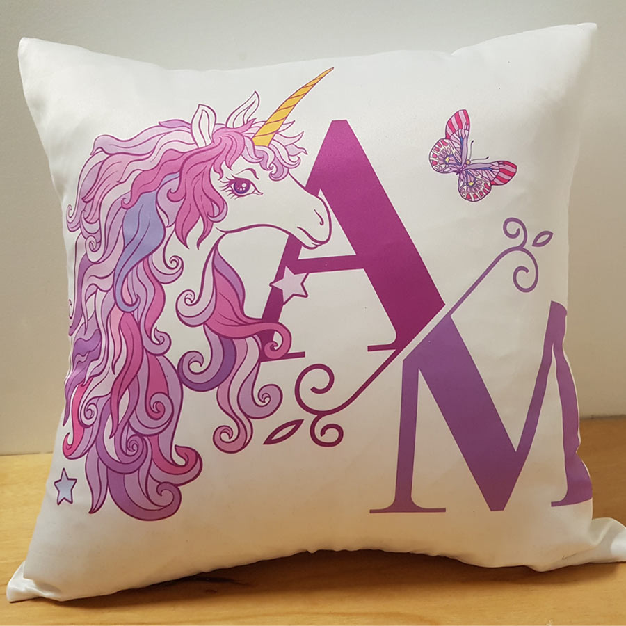 Unicorn Initials Cushion Filly And Co Horse Gifts