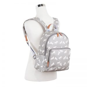 oilcloth horse backpack grey