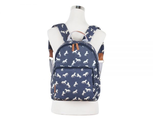 oilcloth horse backpack navy