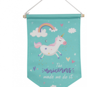 teal unicorn wall hanger