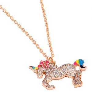 A cute sparkly unicorn necklace.