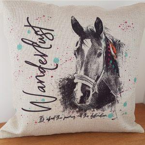 wanderlust horse cushion